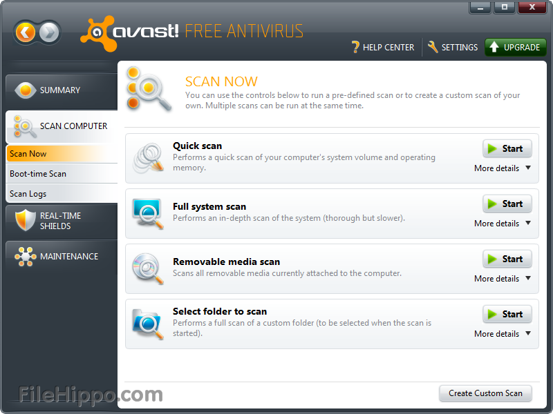 main menu avast antivirus