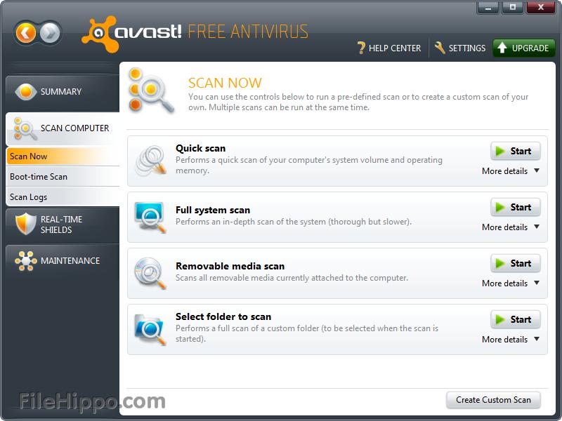 main menu avast antivirus
